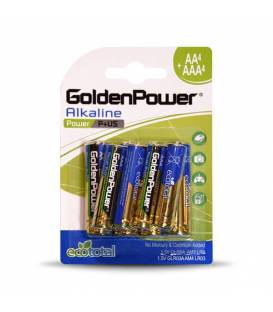 GoldenPower Battery AA*4+AAA*4 Alkaline باتری گلدن پاور