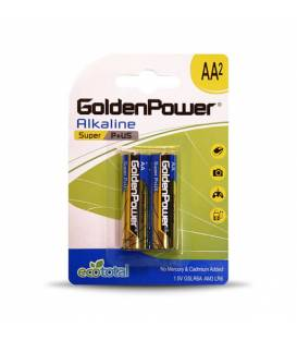 GoldenPower Battery AA*2 Super Alkaline باتری قلمی گلدن پاور